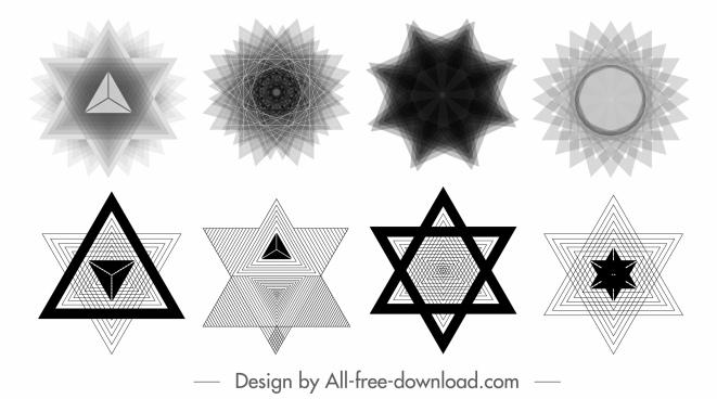 decorative elements illusive geometric symmetric shapes