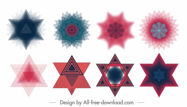 decorative elements modern colored delusion decor geometric shapes