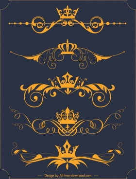 decorative elements royal crown yellow symmetric decor