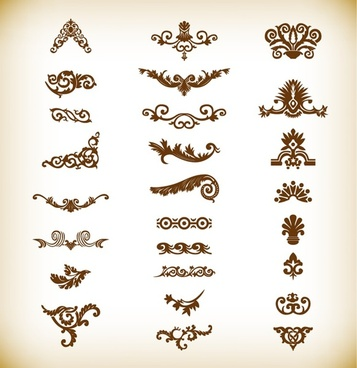 decorative elements set vector graphics