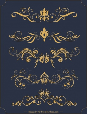decorative elements sets classical elegant symmetric curves sketch