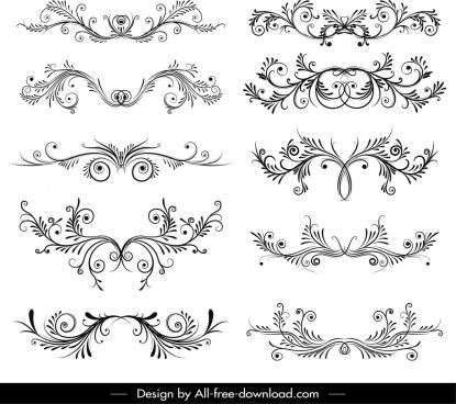 decorative elements templates black white symmetric swirl shapes