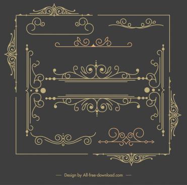 decorative elements templates classical elegant symmetric curves