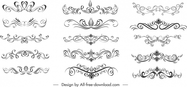 decorative elements templates classical symmetric curves sketch