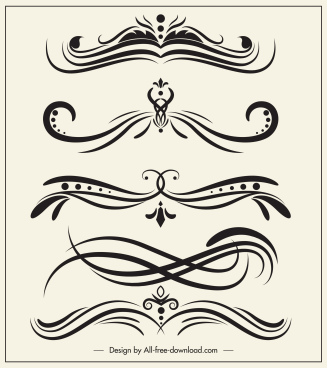 decorative elements templates elegant classic swirled symmetric shapes