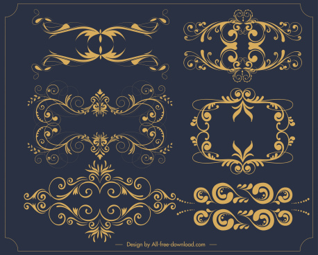 decorative elements templates elegant golden symmetric swirled shapes