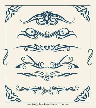 decorative elements templates elegant retro symmetry curves shapes