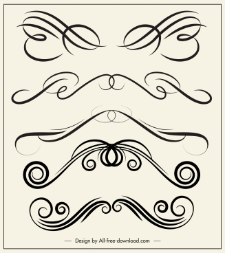 decorative elements templates elegant swirled symmetric shapes