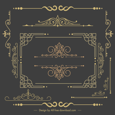 decorative elements templates elegant vintage symmetrical shapes
