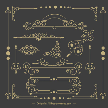 decorative elements templates european classical symmetric shapes