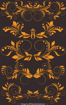decorative elements templates yellow classical symmetric curves