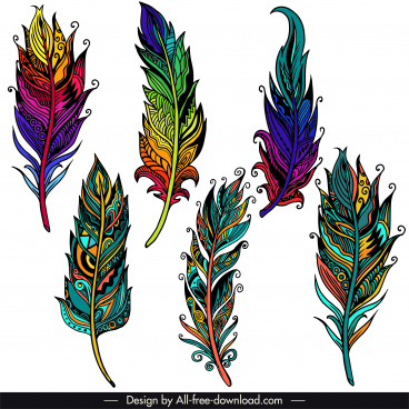 decorative feather icons colorful classic ethnic handdrawn design