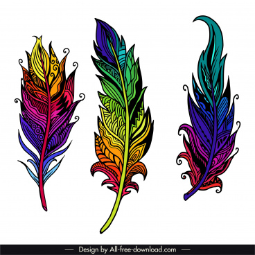decorative feather icons colorfull ethnic decor handdrawn outline