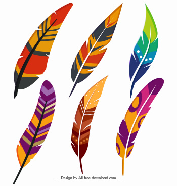 decorative feather icons multicolored handdrawn sketch