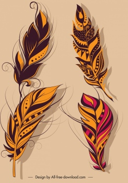 decorative feathers icons dark colored fluffy decor