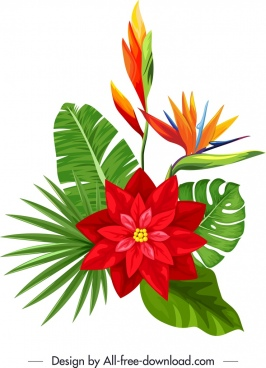 decorative flora icon modern multicolored design