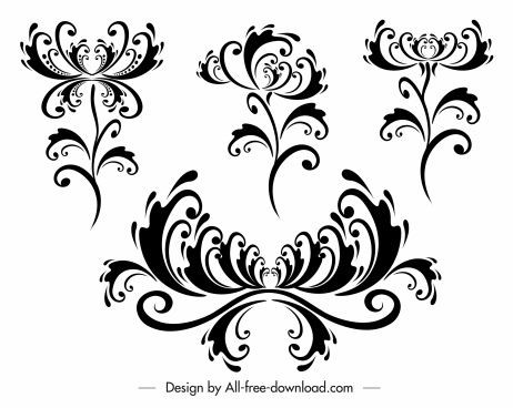 decorative flora templates classical symmetric curves sketch