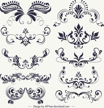 decorative floral elements black white vintage swirled shapes