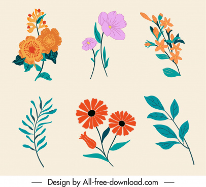 decorative floral icons colorful elegant classic handdrawn