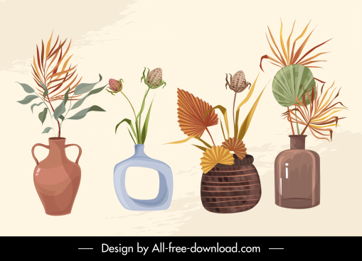 decorative floral vase icons elegant classical design
