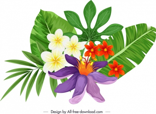 decorative flower icon colorful petals leaves sketch
