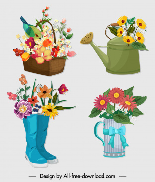 decorative flower icons colorful symbols design