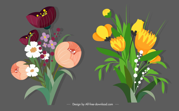 decorative flower icons elegant design classic handdrawn