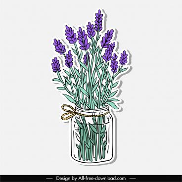 decorative flower pot icon colored flat classic handdrawn