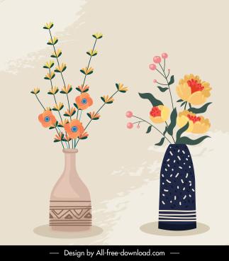 decorative flower pots background flat retro handdrawn