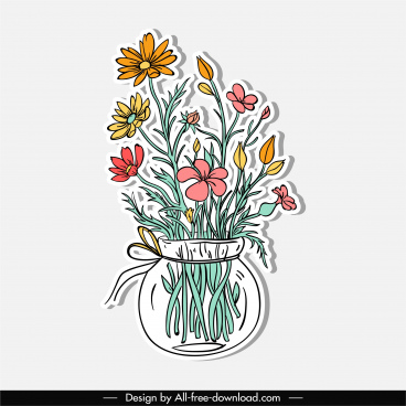 decorative flower vase icon classic colorful handdrawn sketch