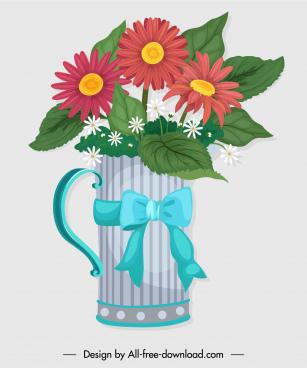 decorative flowerpot icon glass sketch colorful classic design