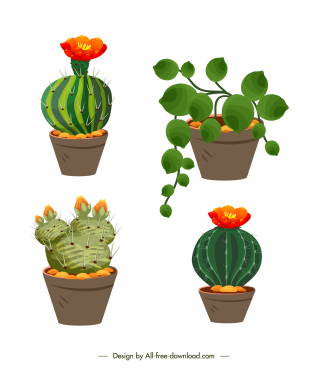 decorative flowerpot icons blooming fresh cactus leaves sketch
