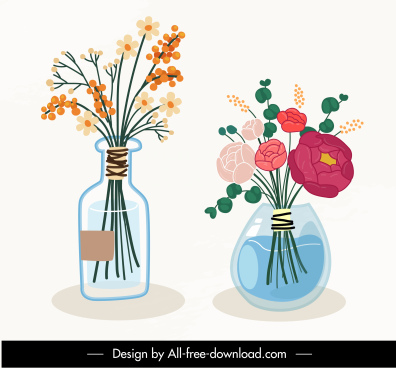 decorative flowerpots icons colorful classical handdrawn sketch