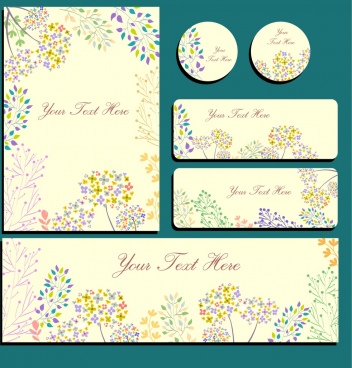 decorative flowers background sets round vertical horizontal shapes