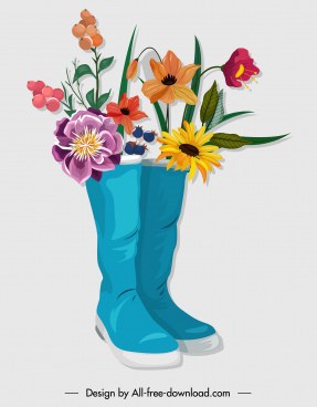 decorative flowers icon boots sketch colorful classical design