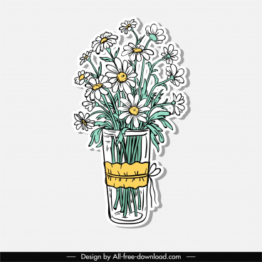 decorative flowers icon elegant classical handdrawn sketch