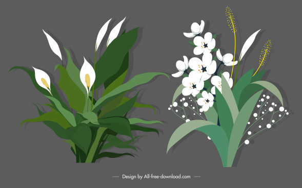 decorative flowers icons elegant classical design