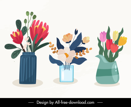decorative flowers icons flat colorful classical sketch