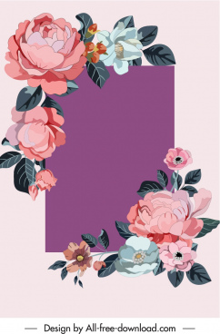 decorative flowers template colorful elegant classic design