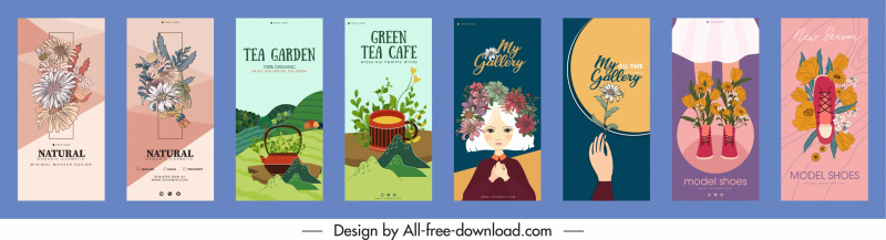 decorative flyers templates colorful classical decor