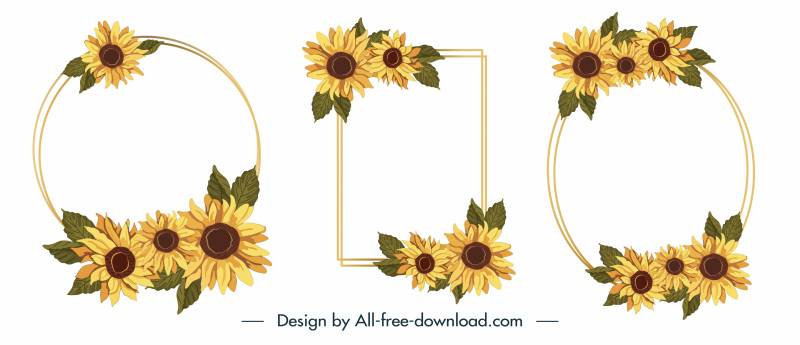 decorative frames templates elegant sunflowers petals sketch