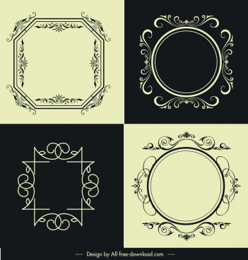 decorative frames templates european symmetric design retro decor