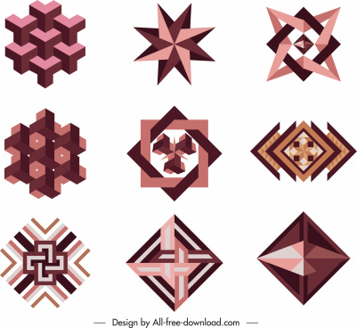 decorative geometric templates modern illusive symmetric shapes