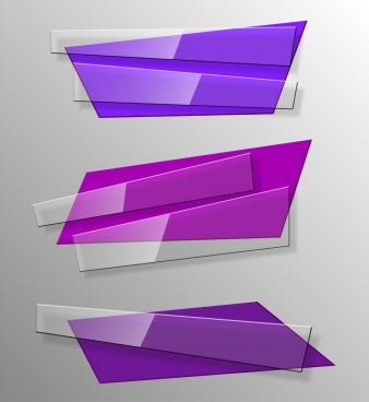 decorative glass objects templates 3d purple design