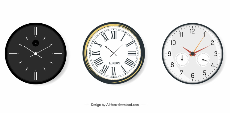 decorative hang clock icons modern circle shape