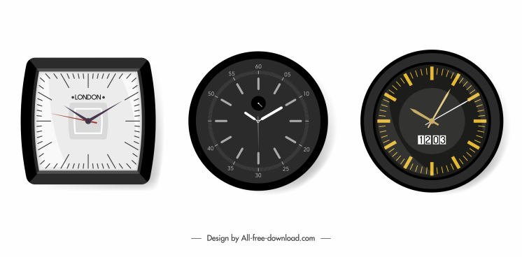 decorative hang clock icons modern design flat sketch