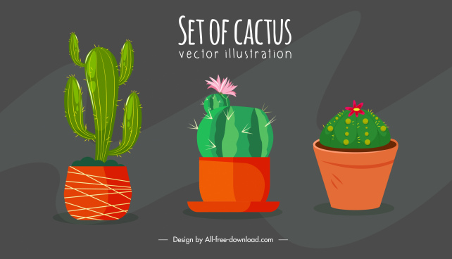 decorative houseplant background cactus pots sketch classic handdrawn