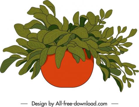 decorative houseplant icon classic handdrawn design