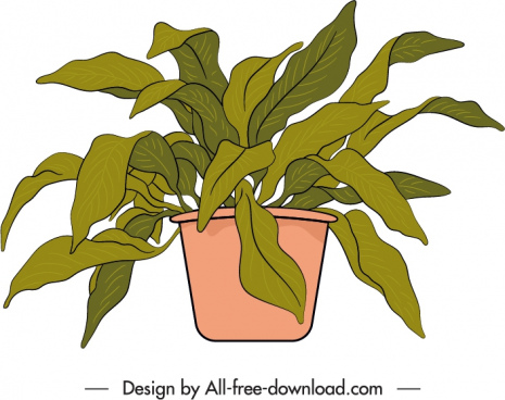 decorative houseplant icon potted leaves sketch handdrawn classic
