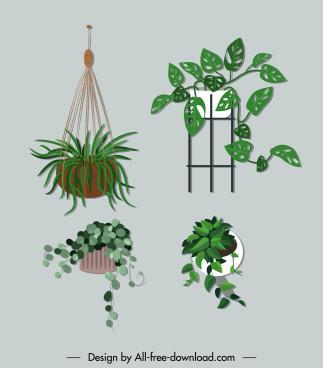 decorative houseplant icons classical design
